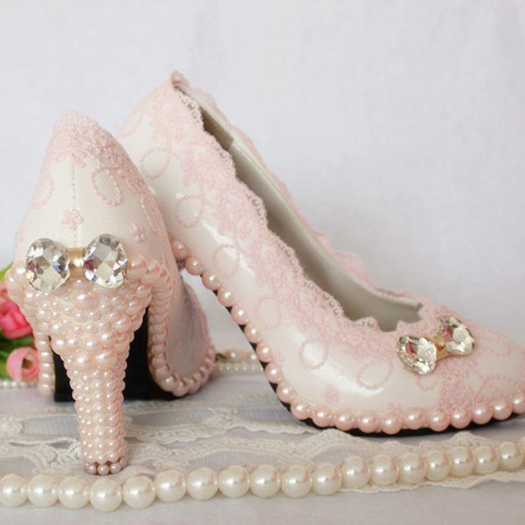 Elegant Sweet Pink Lace Wedding Shoes Fashion Women Bridal Shoes  Evening Shoes Women Pumps Popular Formal Shoes