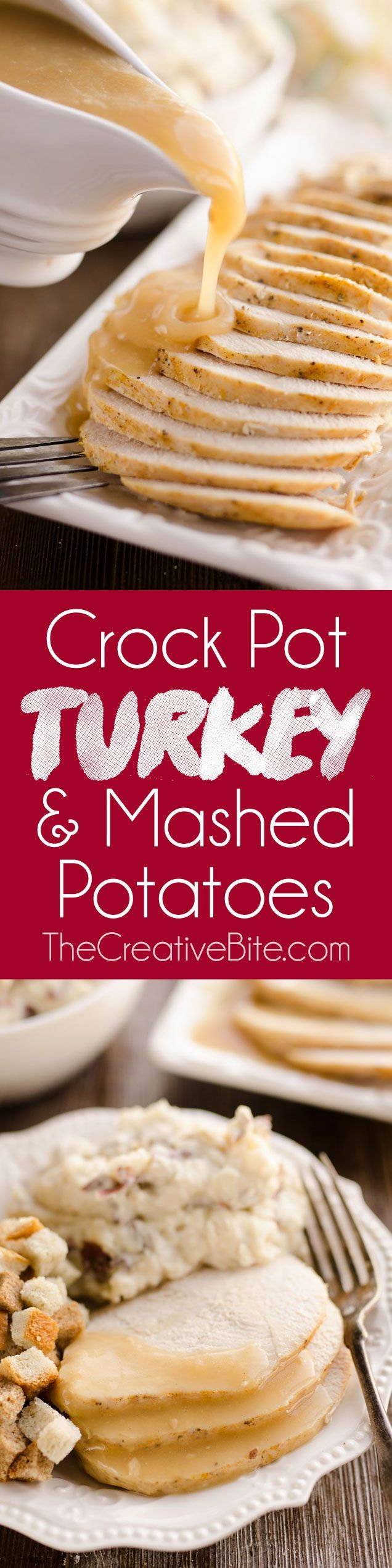 Crock Pot Turkey Breast & Garlic Mashed Potatoes is an easy one pot recipe made in your slow cooker perfect for a small holiday dinner or simple weeknight meal. Jennie-O Oven Ready  Boneless Turkey Breast, potatoes and gravy come together to make a delicious all-in-one recipe! #Jennie-O #SwitchCircle
