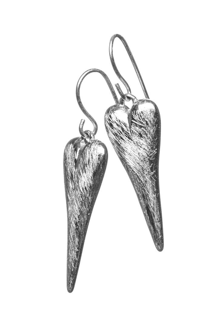 Scratched Heart Pendant Earrings  http://www.mistral-online.com/accessories-c10/jewellery-c43/earrings-c82/scratched-heart-pendant-earrings-silver-p27871