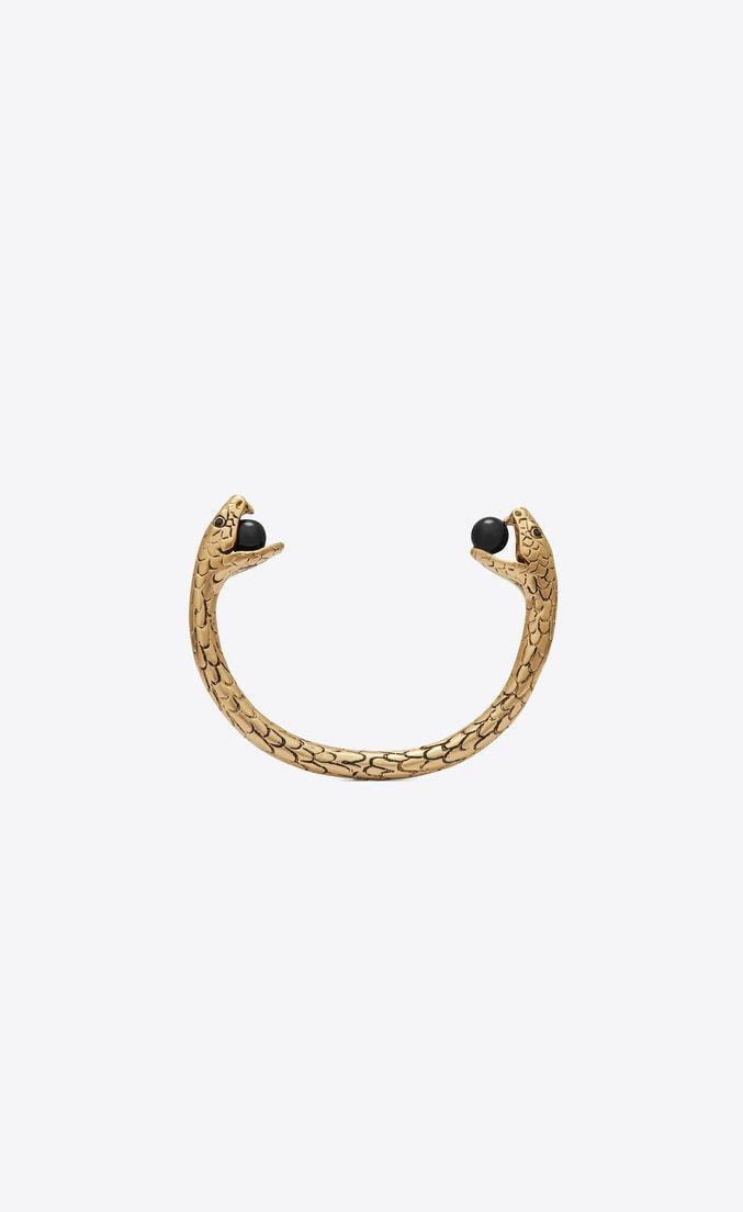 462f9e76224c28 Snake bracelet in gold brass with black glass beads | The Short List ...