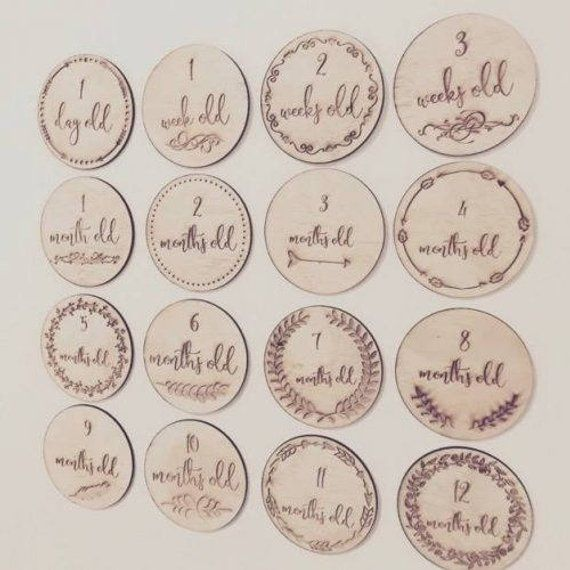 Afterpay Round Baby Milestone Cards Wooden Ply Engraved Baby Shower