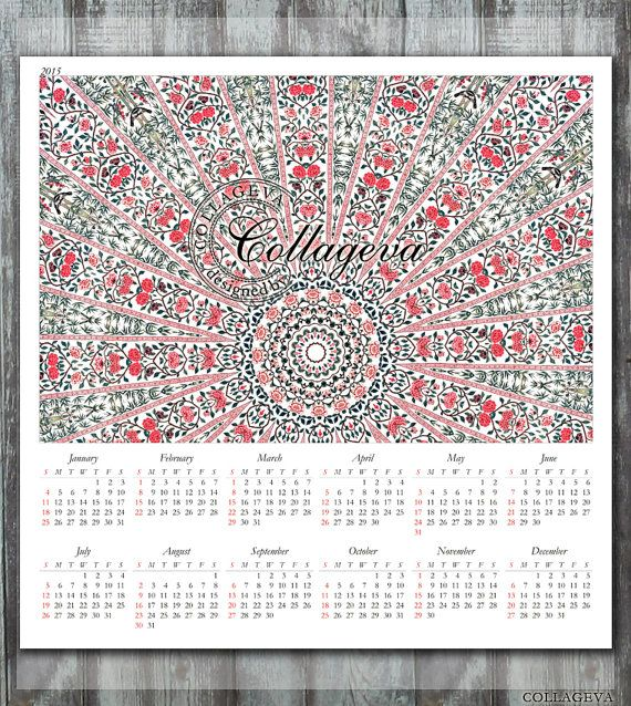 2015 Printable Year Calendar, 12x12 inch, Instant Download, wall art, scrqapbook page, home decor, Mandala, bamboo, pink red flovers  by collageva