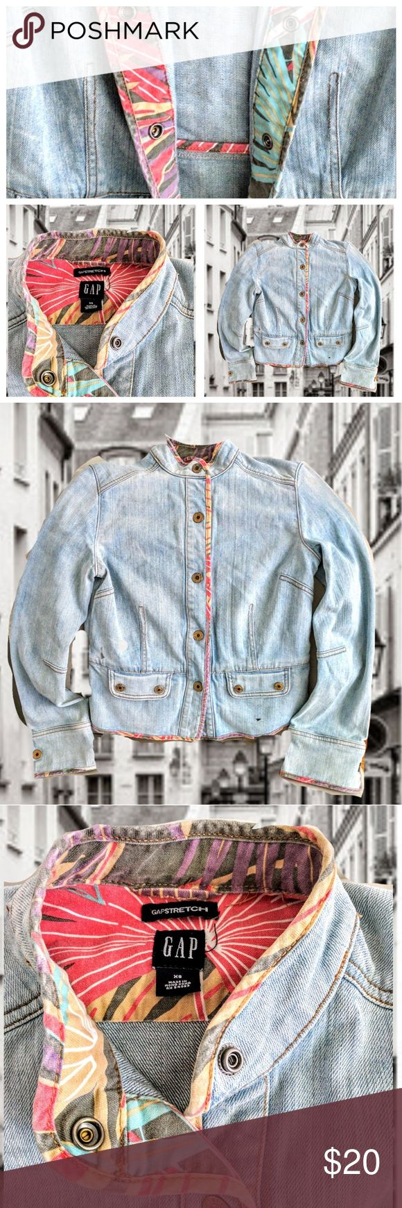 GAP vintage denim Mandarin collar contrast tropical print collar & cuffs stonewashed cotton denim jacket from the gap. This jacket is from the 90's, and is in great condition. Sz XS. Cut larger so would definitely work for a small as well. GAP Jackets & Coats Jean Jackets