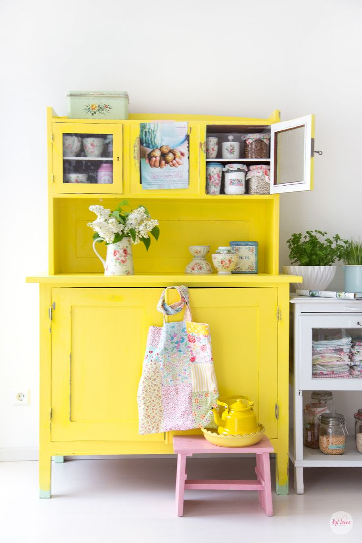 hello yellow kitchen dresser