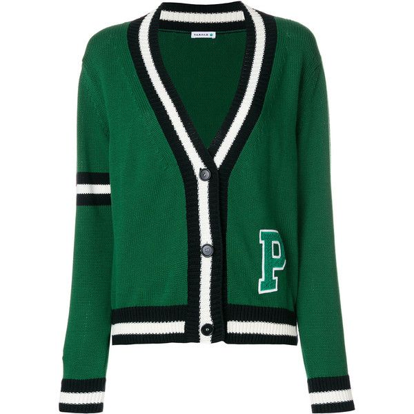 P.A.R.O.S.H. striped college cardigan ($348) ❤ liked on Polyvore featuring tops, cardigans, green, striped cardigan, stripe cardigan, striped top, stripe top and green striped cardigan
