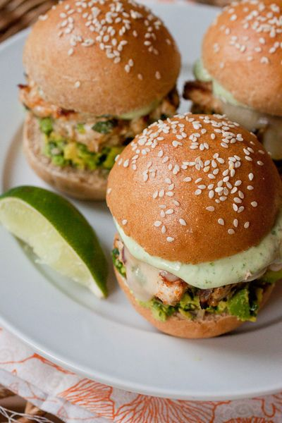 Cheddar Jalapeno Chicken Burgers with Guacamole by Smells Like Home