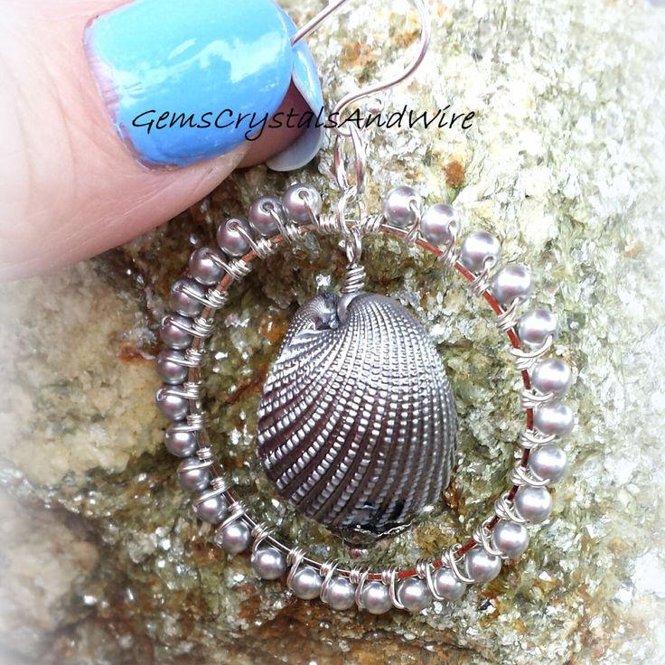 Swarovski Earrings Pearl Earrings Shell Earrings Ladies Beach Jewelry Sterling Silver Earrings Handmade Earrings - pinned by pin4etsy.com