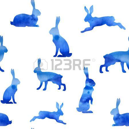 lepre: Modello blu acquerello lepre vettore Vettoriali