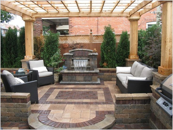 Patio Contemporary Outdoor Cushions Patio Furniture Pergola Stone Wall  Water Feature Waterfall Wicker Furniture Wood Fencing Id 1178 | Pinterest |  Wall ...
