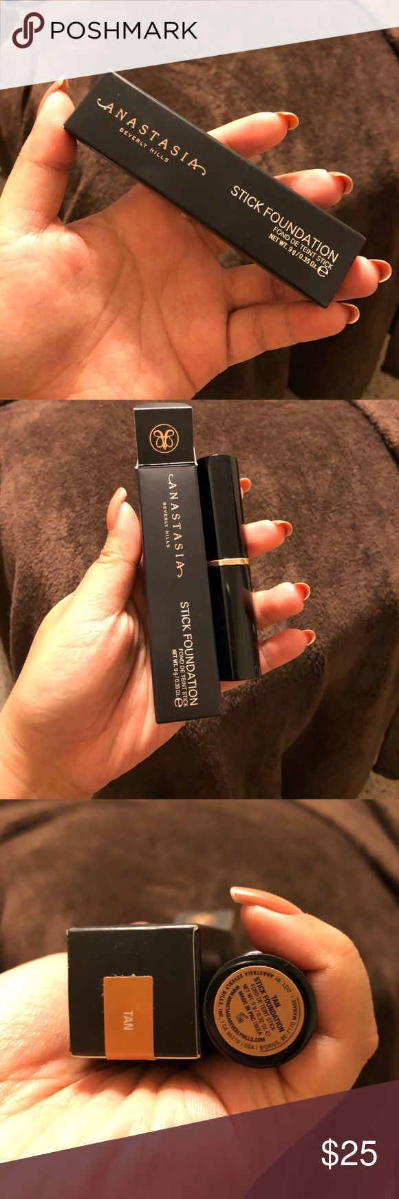 Anastasia stick foundation Tan Brand new in box. Swatched using a brush, never applied directly to skin. Has been disinfected. Full stick left! Anastasia Beverly Hills Makeup Foundation