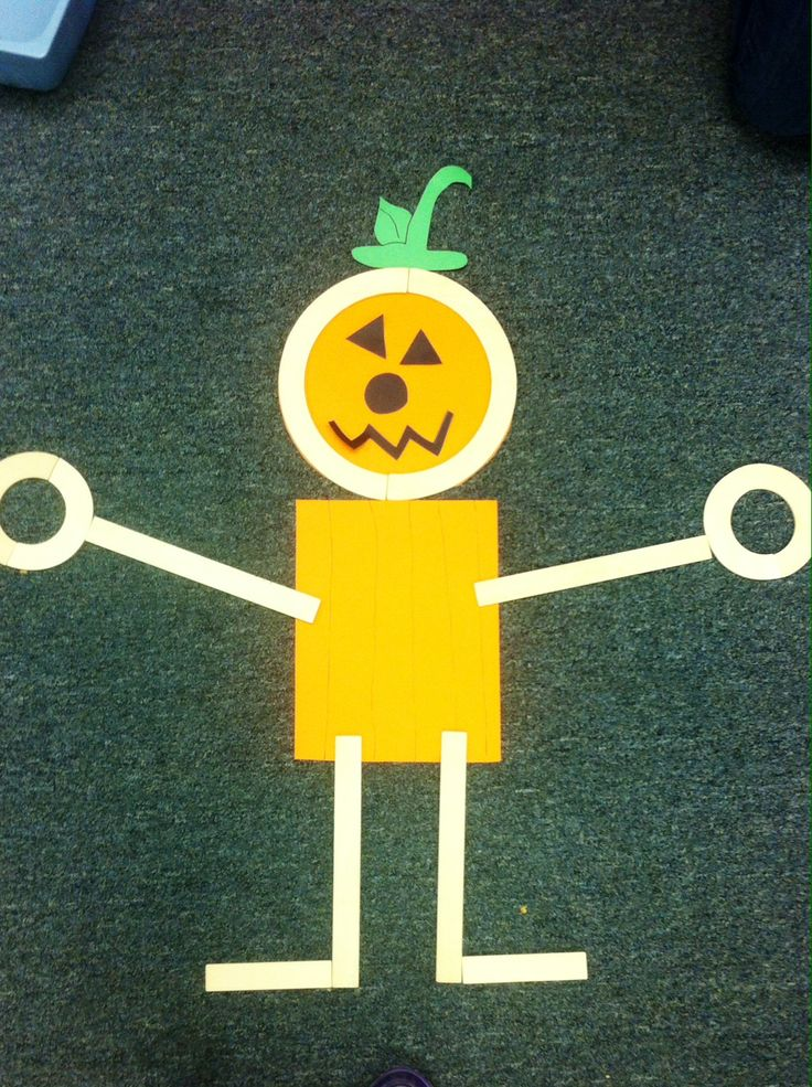 Mat man pumpkin preschool activity