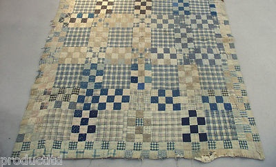 Love this old quilt with the 9 patches and gingham panels.