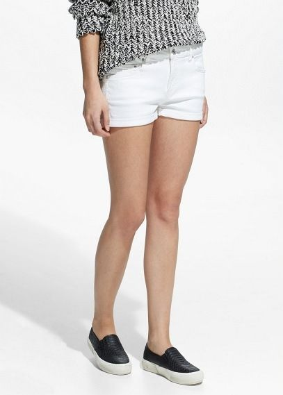 $17, White Denim Shorts: Mango White Denim Shorts. Sold by Mango. Click for more info: https://lookastic.com/women/shop_items/233340/redirect