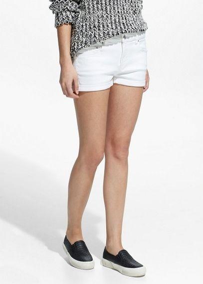 $17, White Denim Shorts: Mango White Denim Shorts. Sold by Mango. Click for more info: https://lookastic.com/women/shop_items/233340/redirect