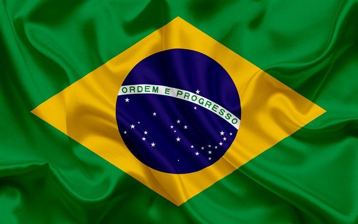 Descargar fondos de pantalla La bandera de brasil, Brasil, América del Sur, de seda, de América latina, la bandera de Brasil