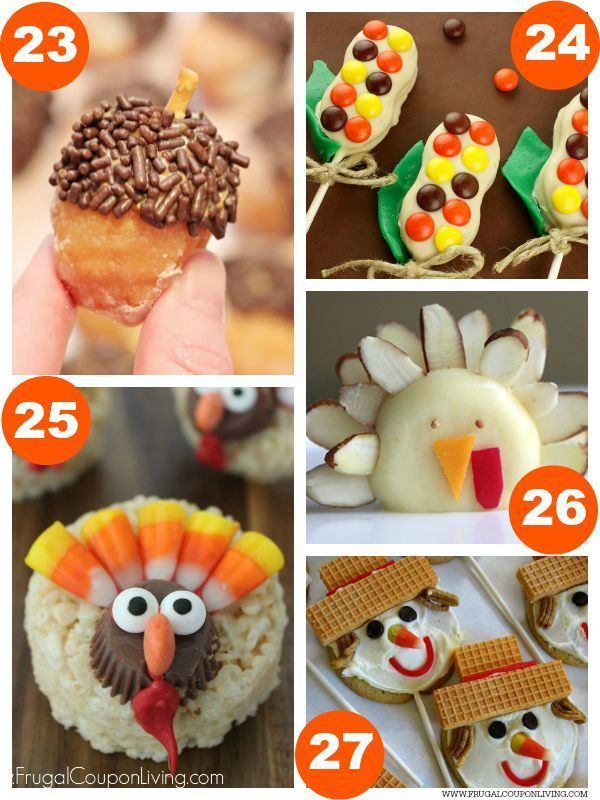 Donut Hole Acorns, Harvest Corn Nutter Butters, Turkey Rice Krispie Treats, Turkey Cheese Snacks, Scarecrow Cookie Pops and 31 Days of Thanksgiving Kids Food Craft Ideas on Frugal Coupon Living