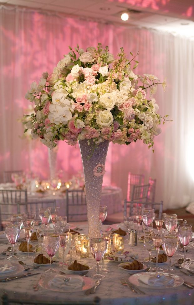 winter wonderland wedding table ideas%0A Beautiful Blooms  Lush Light Pink and White Tall Centerpiece