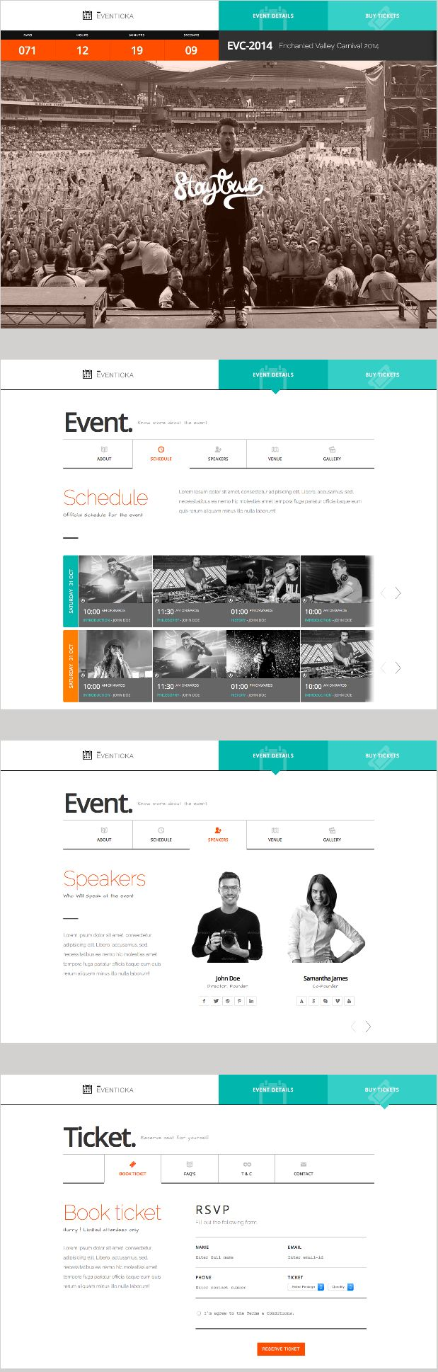 Eventicka is an responsive HTML theme for Events & Ticketing online. This theme can be use as landing page for promoting events. #events #music #concerts #webdesign