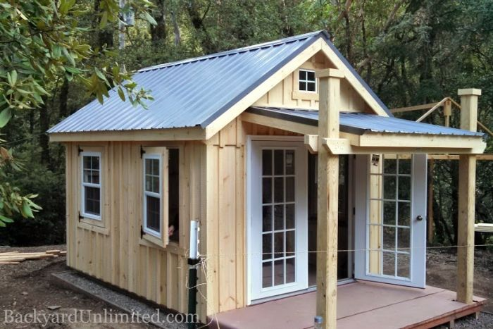 This, minus the porch. 10x12 Custom Garden Shed with 5x10 Porch, Metal Roof, Hinged Slider Windows, 15-Lite Prehung Doors, Board & Batten Siding, Redwood Foundation and Deck and No Treated Materials