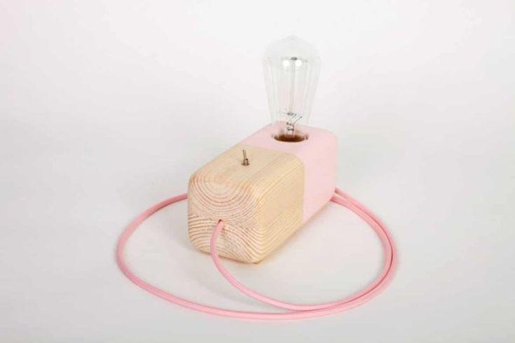 Rosa Holzerne Block Handgemachte Tischlampe Block Handgemachte Holzerne Tischlampe Tischlampen Lampe Tisch