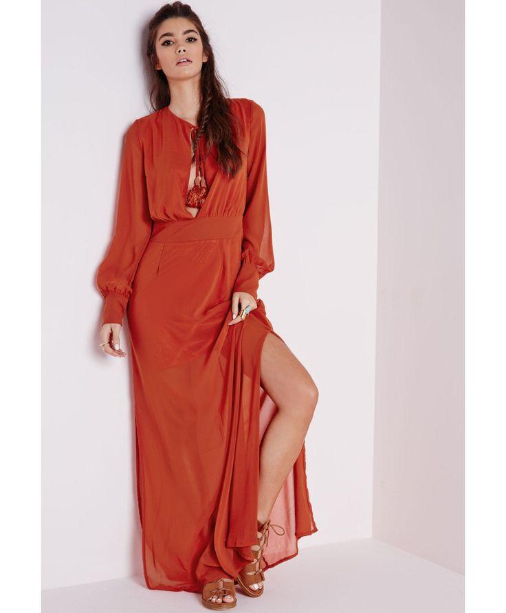 Robe longue en mousseline rouille avec pompons à franges - Robes - Robes longues - Missguided