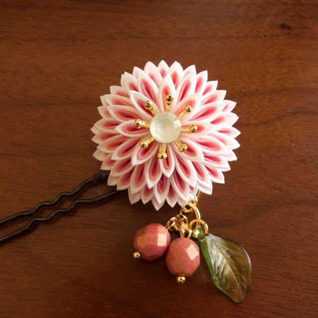 チェリーピンク|つまみ細工のかんざし「花小町」和 簪 髪飾り(受注制作)