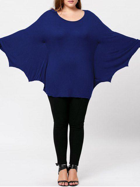Plus Size Halloween Batwing T-shirt - BLUE 2XL