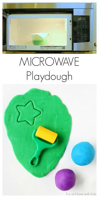 Easiest Ever 5 Minute Microwave Homemade Playdough! from Fun at Home with Kids