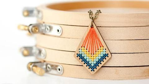 Cross Stitch Necklace Kit - Bamboo Kite Pendant with Modern Stitched Design