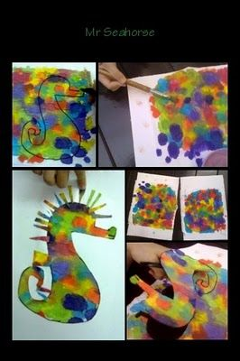 Seahorse craft - could do sponge painting too