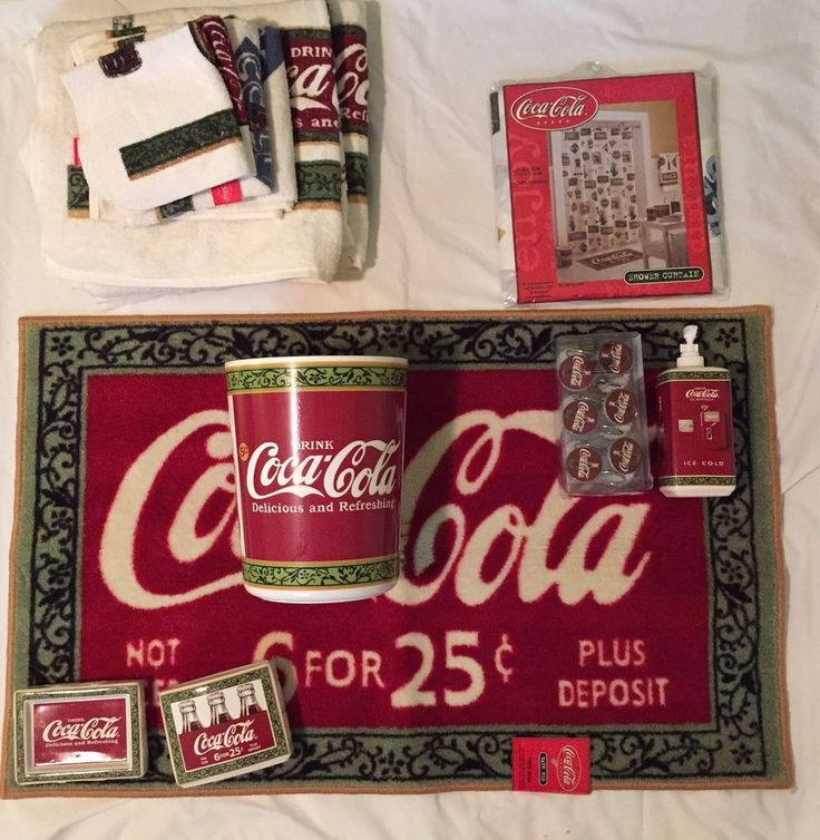 Coca cola full bath set rug shower curtain hooks soap dish - Bathroom coca cola shower curtain ...
