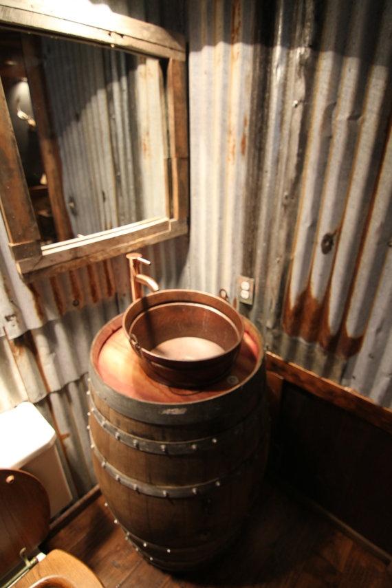 Free shipping wine barrel sink french oak with by for Whiskey barrel bathtub
