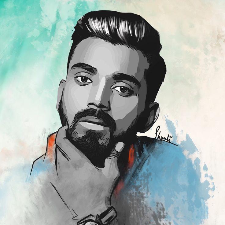 Klrahul indian cricket team fan art by shruti shrivastava