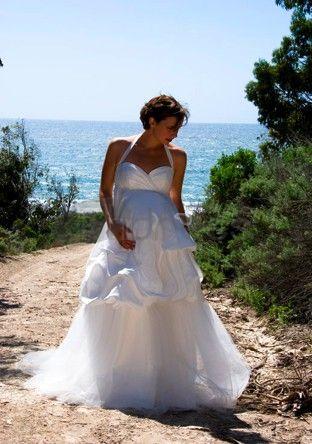 Abiti da Sposa Premaman-Sexy scollo a V con capestro abiti da sposa premaman gonna volant