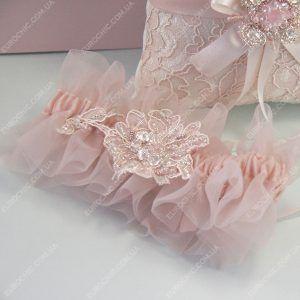 Подвязка невесты Делиция пастельная розово-пудровая