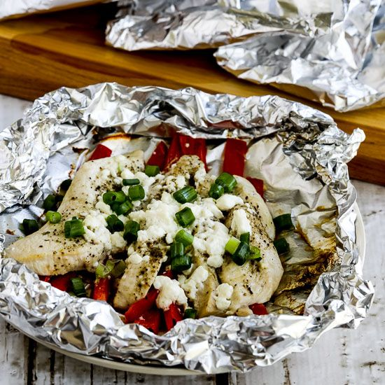 Low-Carb Grilled Greek Chicken Packets found on KalynsKitchen.com