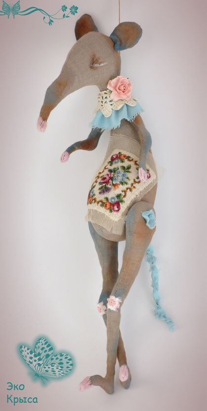 "Julia Berg -  Rat ""The Second Life of Things"" soft toy. Handmade."