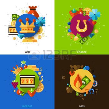 flat slot: Slot machine concept with win chance jackpot and loss icons set flat isolated vector illustration