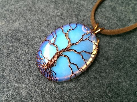 """pendant """"Tree of Life"""" with big stone no holes - How to make wire jewele..."""