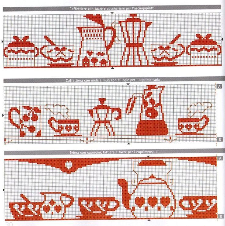 asciugapiatti monocolre rosso punto croce caffettiere tazze (1)