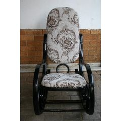 Black Toile Refinished Bentwood Rocking Chair