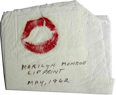 Marilyn Monroe   Lip print on a napkin, May 1962