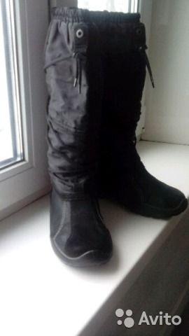 Черные зимние осенние сапоги — фотография №1