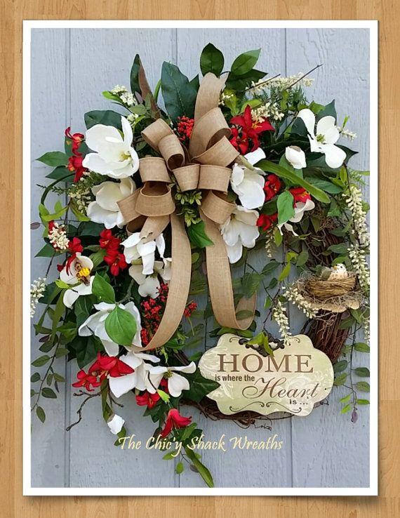 Spring Wreath Summer Wreath Magnolia Wreath  Dogwood