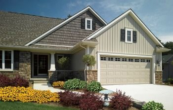 """BARN HOMES WITH Board & Batten Siding   Used here as accent with Cedar Impressions Double 9"""" Rough Split ..."""
