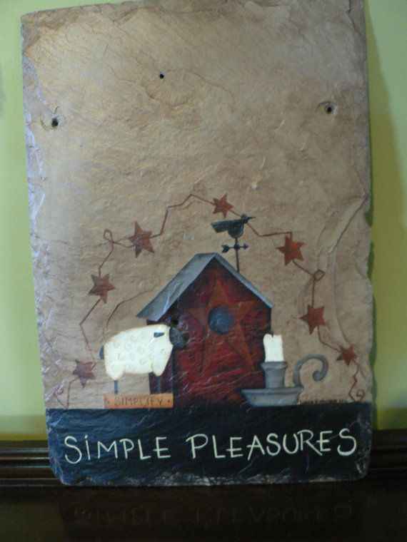 primitive hand painted vintage roofing tile by. Black Bedroom Furniture Sets. Home Design Ideas