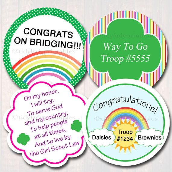Editable cupcake toppers girl scout bridging from daisy for Arts and crafts for brownies