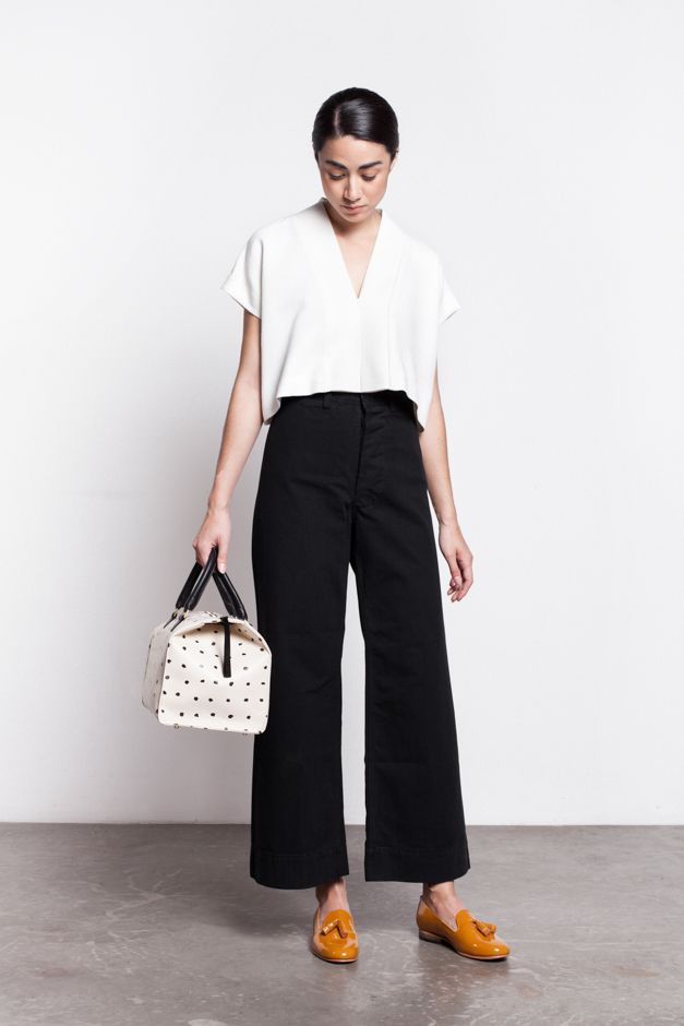 Love the polka dot mini Weekender bag, fashion accessories inspiration  a from Alice. whitese with cropped black pants and tasseled loafers