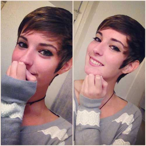 Girls and women who wish to have the cute look can try this short pixie haircut with short side bangs. It is cute and modern.