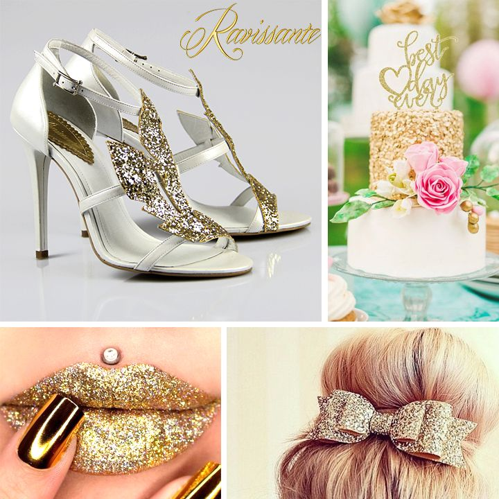 Gold, glitter and fun - wedding attributes. Wedding glamorous shoes